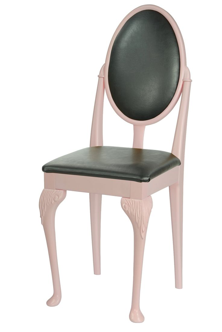 Pink Dining Room Chair With Queen Anne Legs And Black Faux Leather Cushions