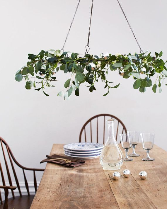 "Rather than tucking mistletoe in a doorway, make family meals warm and fuzzy with an overhead centerpiece. Wrap a wreath frame with fresh eucalyptus and faux mistletoe (toxins in the real berries can harm kids and pets), and attach ornaments with floral wire.      Ashland wire wreath frame, 18"", $4, michaels.com. Artificial mistletoe spray, 3"" by 30"", $5, factorydirectcraft.com."