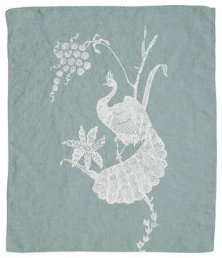 Indochine Peacock Hand Towel, Sky/White - contemporary - dishtowels - Cricket Radio