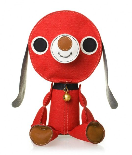 """""""The Swedish toy company Acne JR launches a line of five new products. A soft toy puppy, apple, tin drum, wooden skull, and a denim version of their classic teddy bear 'Chester'. Traditional, toys in a modern design. At the same time Acne JR has also opened a webshop."""""""