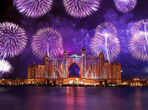 purple fireworks, purple sky and is that the Atlantis resourt in Bahamas? Or am I mistaken?