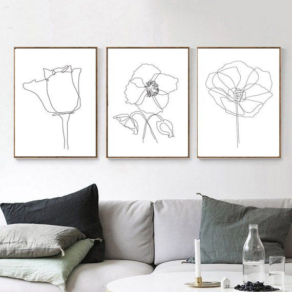 Flower Line Art Set Of 3 Prints Botanical Wall Art Poppy Print Flowers Drawing Contour Art Plants Po – Etsy