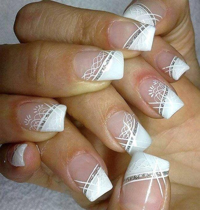 White Wedding Nail Art Designs für Bräute
