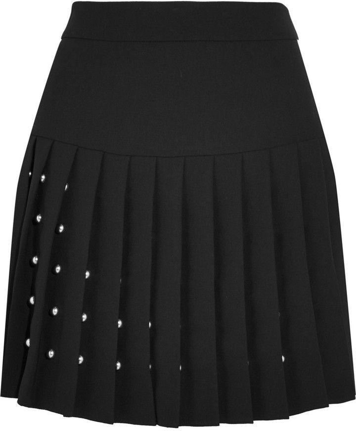 McQ Alexander McQueen Studded Crepe Mini Skirt