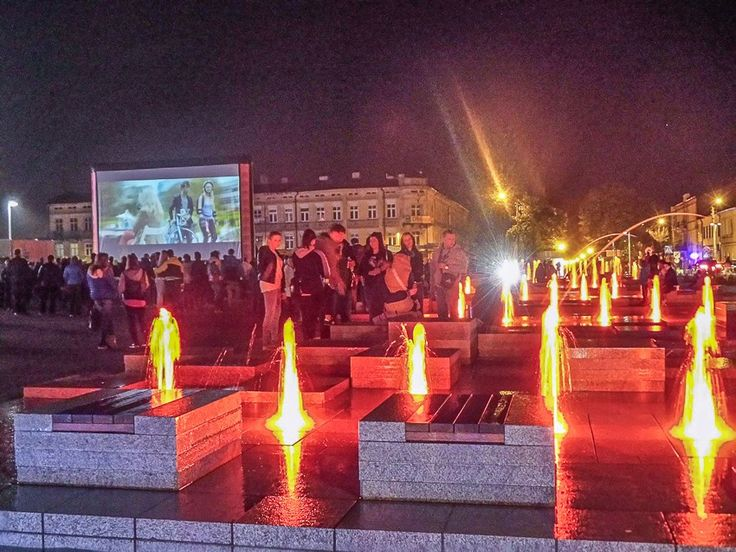 The open air cinema in the centre of Tomaszów Maz., 02 May 2015