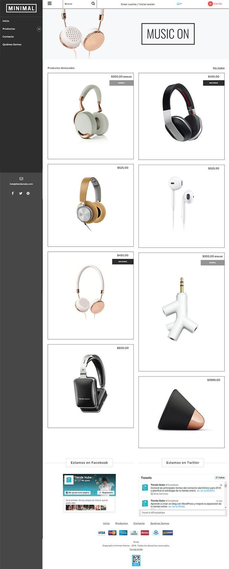 #DiseñosNube: Minimal es un diseño oficial de Tienda Nube. Su estilo sencillo y elegante permite destacar los productos de forma atractiva mediante una grilla configurable. Además, posee una barra lateral que agiliza la navegación y puede ocultarse.