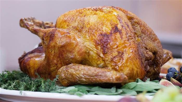 Martha Stewart's Upside-Down Turkey ~ Tip to roast breast side down half way through then turn over, resulting in a moist breast meat. Today Show Food