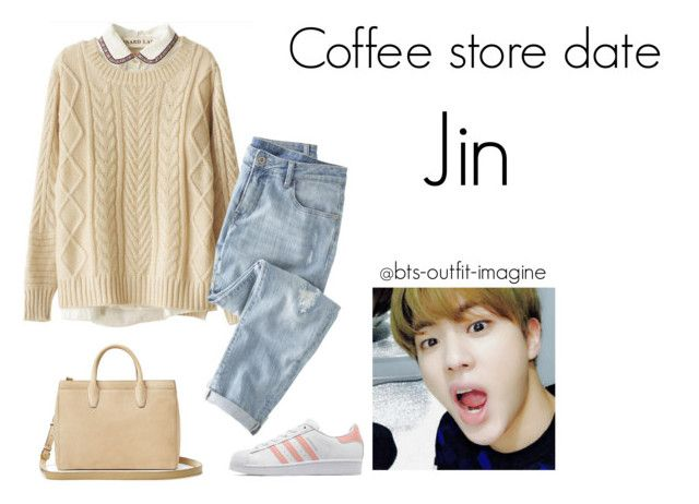 """""""coffe store date (jin)"""" by bts-outfit-imagine ❤ liked on Polyvore featuring art, simple, kpop, korean, bts and jin"""