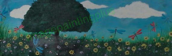 Whimsical Meadow acrylic painting