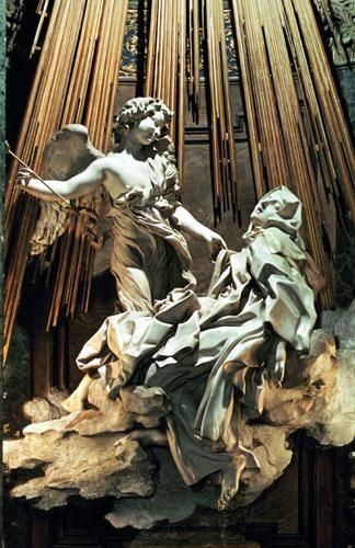 Gian Lorenzo Bernini, dit Le Bernin (1598-1680), Extase de Sainte-Thérèse, marbre, 1645-1652, Chapelle Cornaro de l'église Santa Maria della Vittoria à Rome.