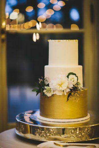 Elegant DC Meridian House Wedding - United With Love- gold metallic wedding cake, gold splatter cake, white flowers wedding cake, modern wedding cake