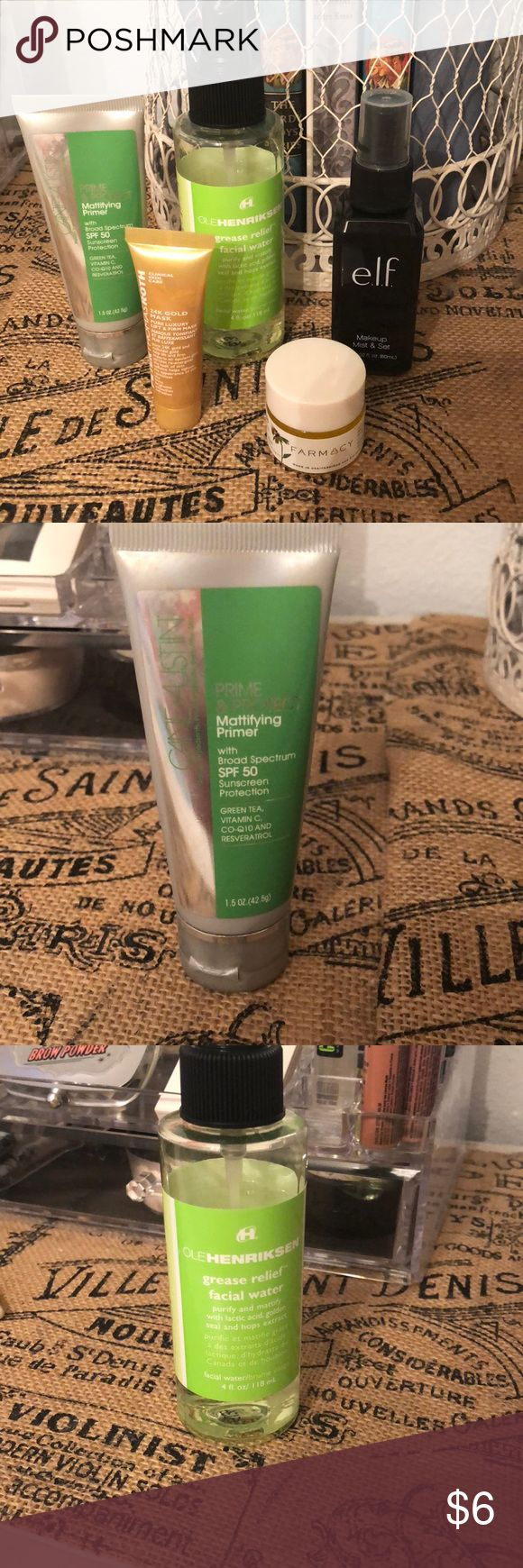 Bundle E.l.f make up mist and set.  PeterThomasRoth 24k gold mask  Came+Austin prime and protect Farmacy honey potion mask  Each item has been used but still has over 3/4 product left. Makeup Face Primer