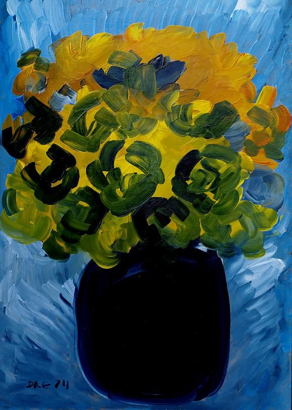 Yellow roses. Wood, oil, 50-35, 1974., автор Кандинский-ДАЕ. Артклуб Gallerix