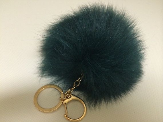 Deep Green Fox Fur Pom Pom Ball Bobble  Keychain by FurPomPoms