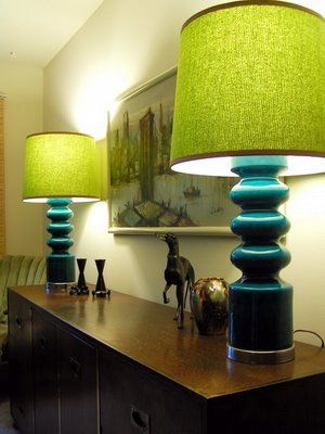Teal lamp with lime green top and teal base...great color combo