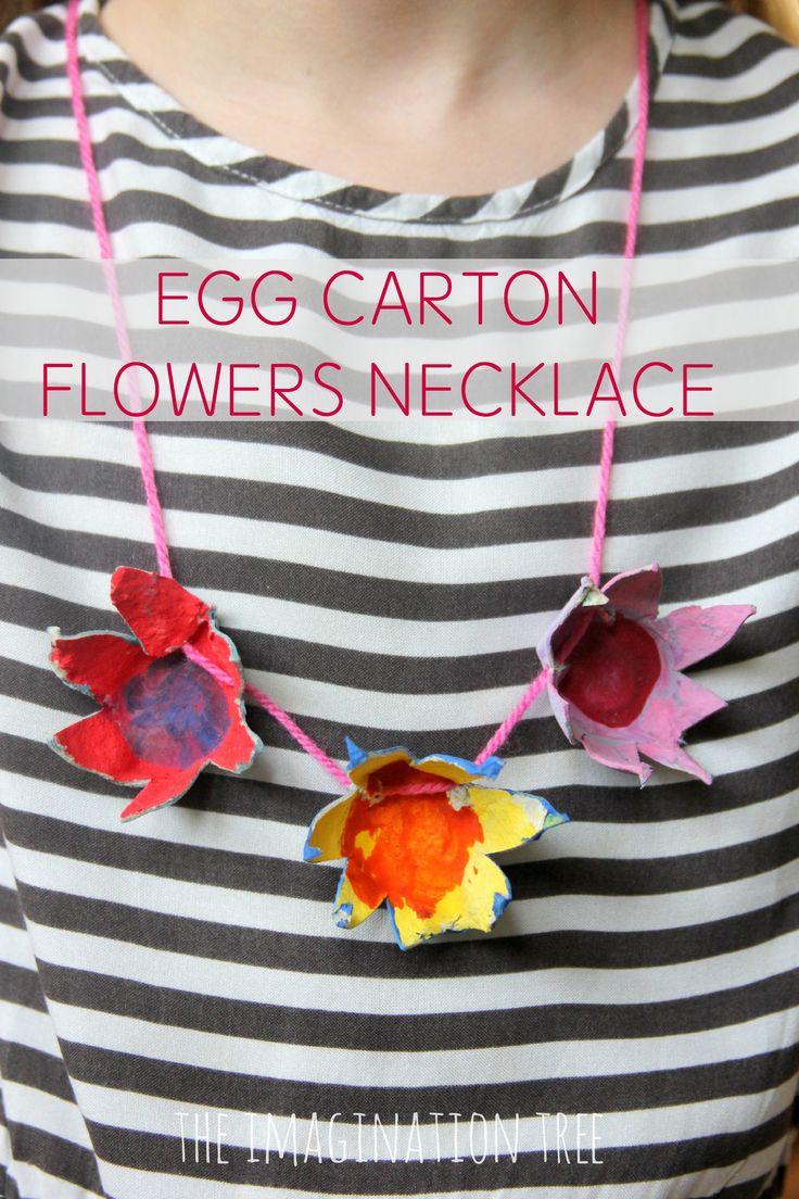 Egg carton flowers necklace