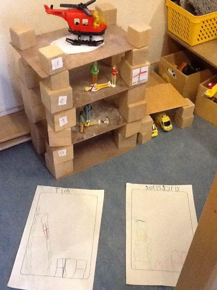 Bouwopdracht: bouw een ziekenhuis met verdiepingen en een garage waar 2 ziekenwagens in passen.