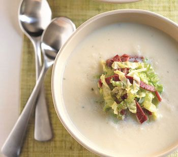 Parsnip Soup with Corned Beef and Cabbage from Epicurious.com #myplate #veggies #protein