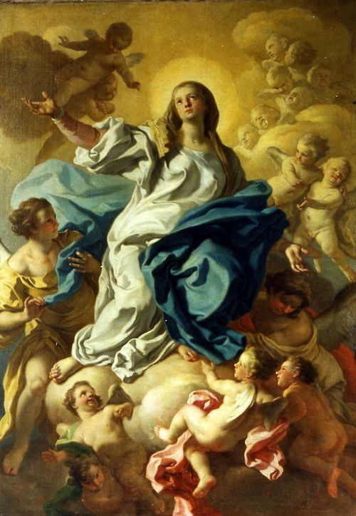 A painting of the Assumption of Mary in the church of the Certosa di San Martino in Naples, Italy.