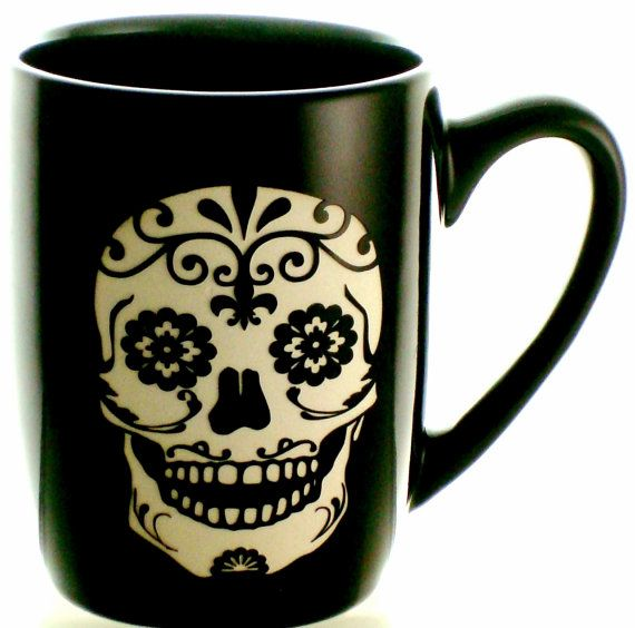 Sugar Skull Sand Carved 12oz Coffee Mug Black Stoneware