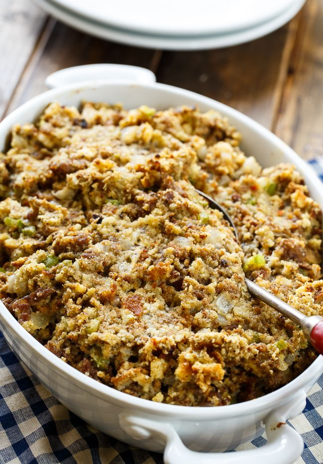Sausage Stuffing recipe made with ground sausage, onion, celery, sage, and a can of cream of chicken soup. Makes such a flavorful Thanksgiving side.