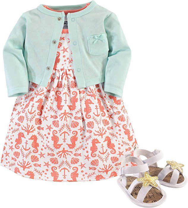 Shoe Set Cardigan Hudson Baby Baby Girls 3 Piece Dress