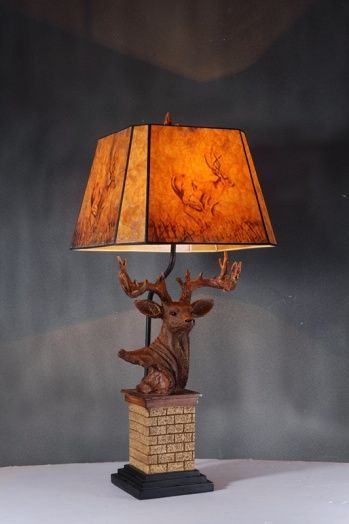 1 light antler table lamp, brown frame and shade