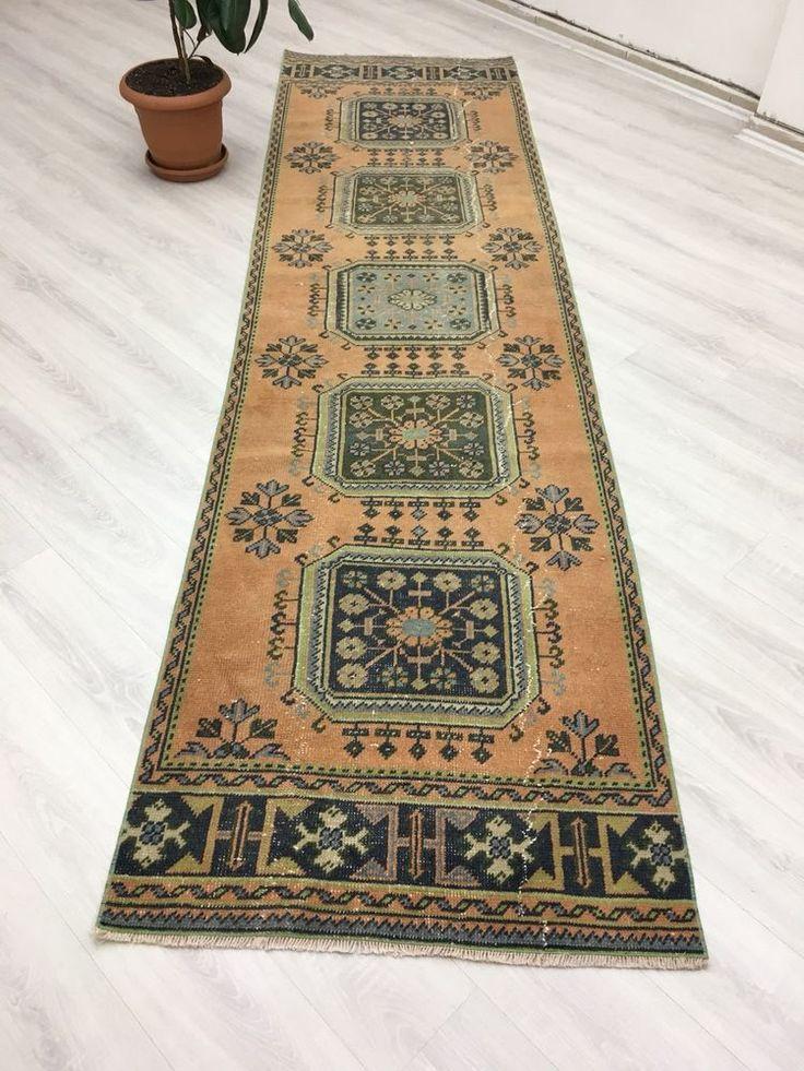 vintage distressed pastel oushak runner primitive kitchen hallway rug 3 1x11 4 handwoven on boho chic kitchen rugs id=23042