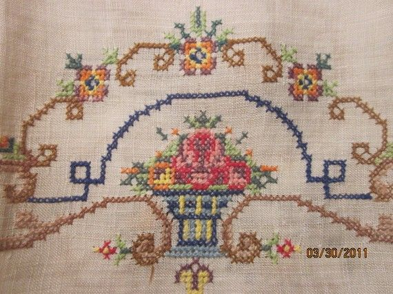 Antique Fine Linen Petitpoint Guest Towel from NewMoonRising Etsy shop.