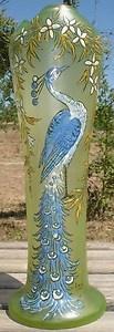 Jugendstil Peacock Vase: Glazed Legras glass / eBay