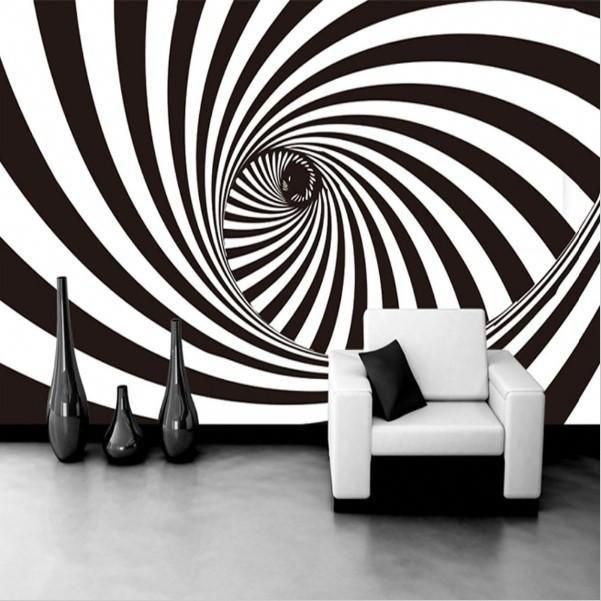 Stylish Abstract Wall Paper Design Black And White Zebra Lines Optical Illusion Swirling Lines Tunnel Wall Mural Mural Mural Wallpaper Custom Photo Wallpaper