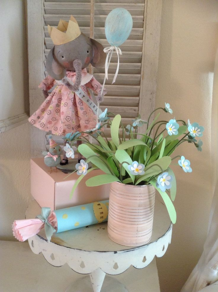 Birthday elephant,forget me nots and little bird