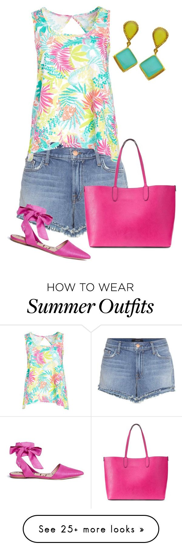 """""""Casual Summer Outfit - Jean Shorts - Evangelos Jewellery"""" by evanangel on Polyvore featuring J Brand, Fresh Produce, Sam Edelman, Mondani and plus size clothing"""