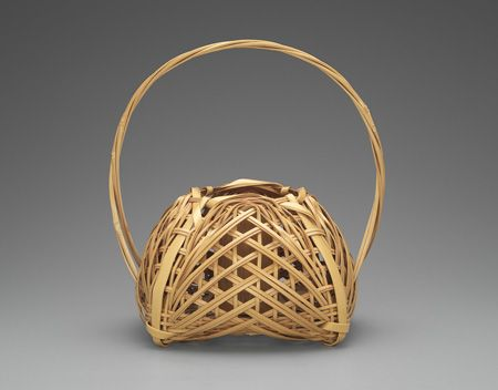 Shono Shounsai (Japanese, 1904-1974): Basket, 1955-1965, madake bamboo (Phyllostachys bambusoides) and rattan; woven in yotsume (square plaiting) and gozame (matting) styles. Museum of Fine Arts, Boston