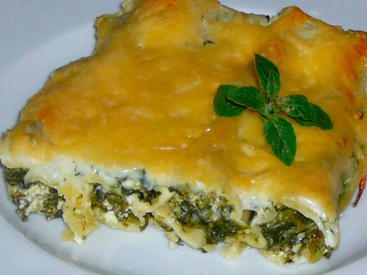 Каннеллони с творогом и шпинатом под соусом бешамель | Классные вегетарианские рецепты