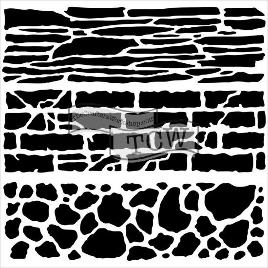 Crafters Workshop Mini 6x6 Template Rock Wall