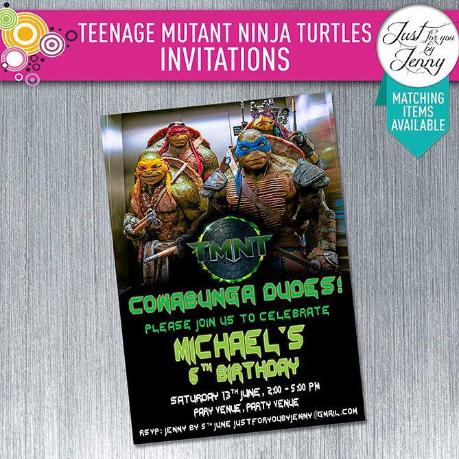 Printable Teenage Mutant Ninja Turtles birthday invitation by JustForYouByJenny on Etsy