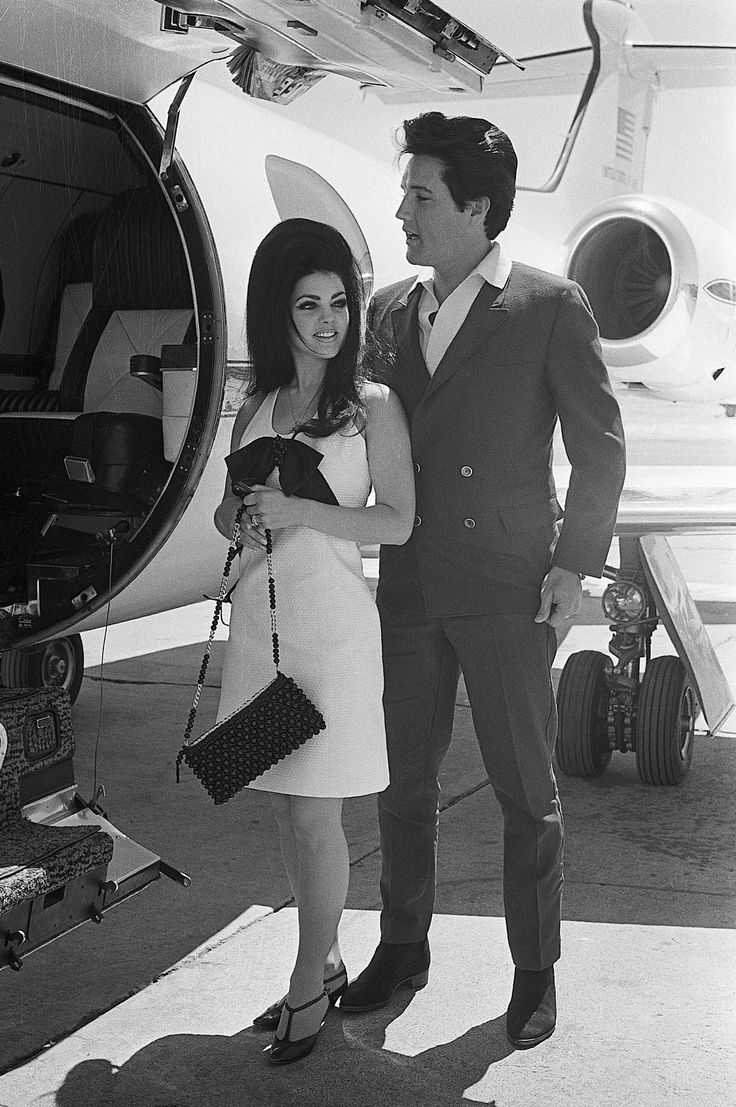 Priscilla and Elvis Presley leaving Las Vegas after getting married at the Aladdin Hotel, May 1967. #tbt