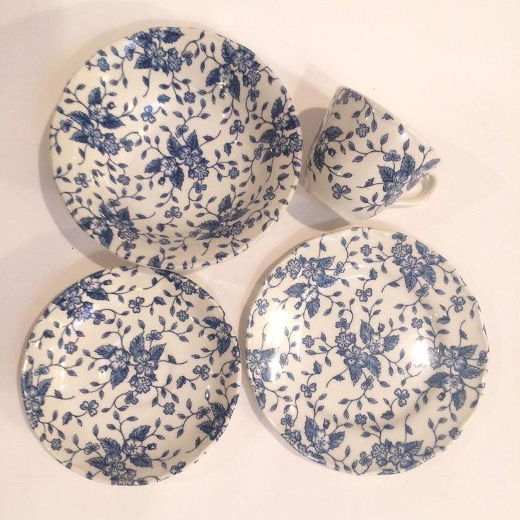GRINDLEY Royal Tudor Bouquet Blue England Set of 4 Bowl Plate Teacup Saucer Vtg #Grindley