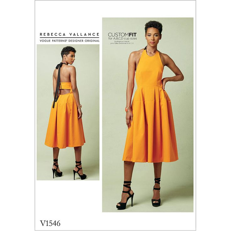 Misses Lined Pleated Halter Dress with Neck Tie Vogue Sewing Pattern 1546.