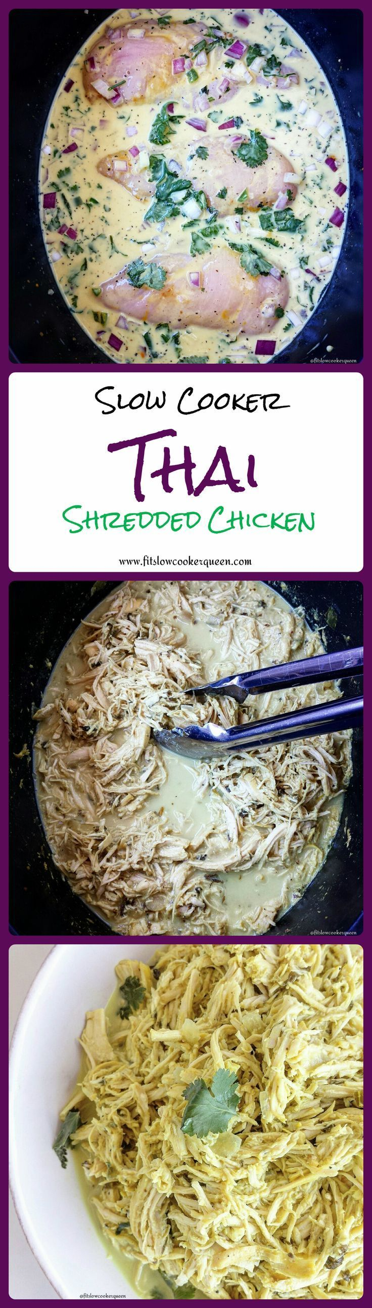 Healthy slow cooker / crockpot recipe -  Shredded chicken is so easy to make in the slow cooker. With basically no prep, you will have succulent Thai-flavored chicken ready for your disposal.