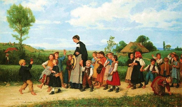"""""""Der Schulspaziergang / The school field trip"""" 1872. Albert Anker (1831-1910), Swiss Genre Painter."""