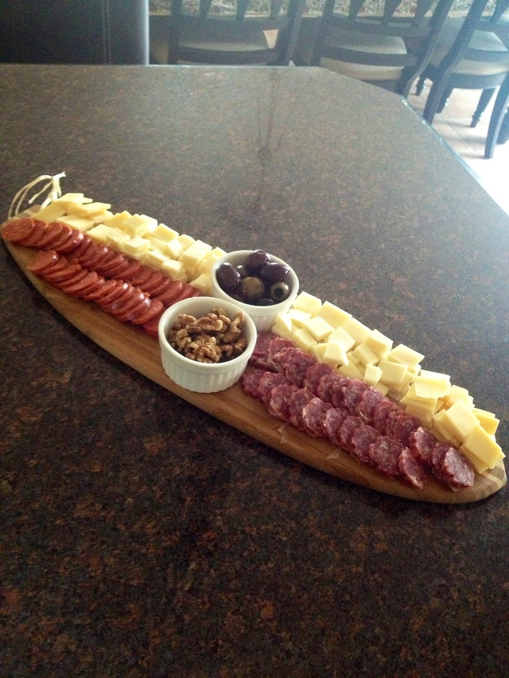 Cheese platter with pepperoni and sausage   #food #platter #creative