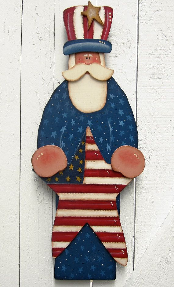 Uncle Sam 4th of July Door Hanger Yard Sign Yard Art Painted Wood Tole Decorative Painting Patriotic Summer Wood Summer Decor Garden Decor