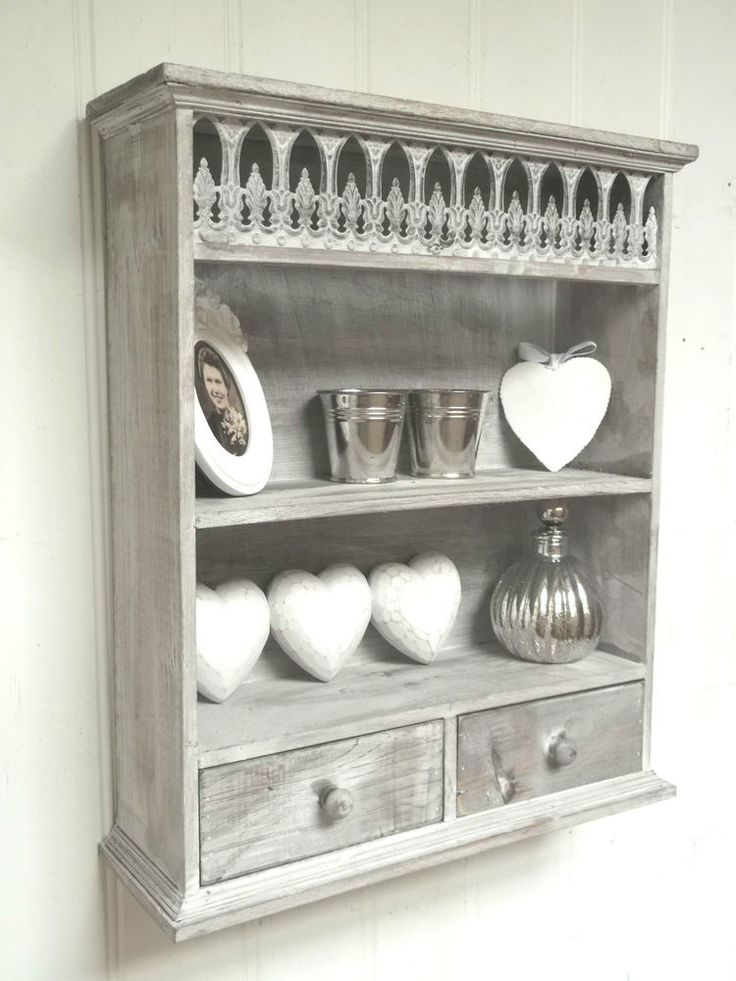 shabby chic wall unit shelf storage cupboard cabinet french vintage style new french vintage. Black Bedroom Furniture Sets. Home Design Ideas