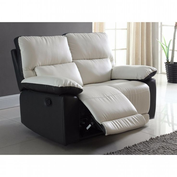 Madison Home Modern Two Tone Bonded Leather Oversize Recliner Loveseat