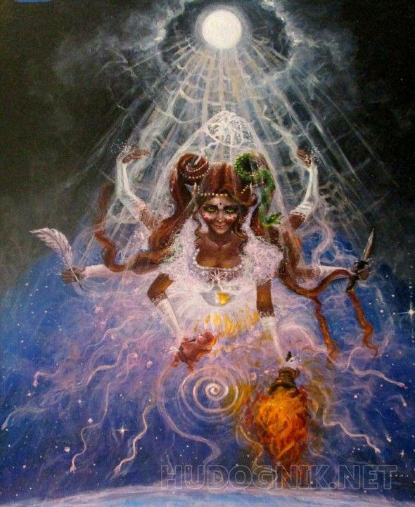 """Лунная невеста Картина из цикла акриловых иллюстраций к энциклопедии """"Евангелие Индиго"""", уже оформлена в раму."""