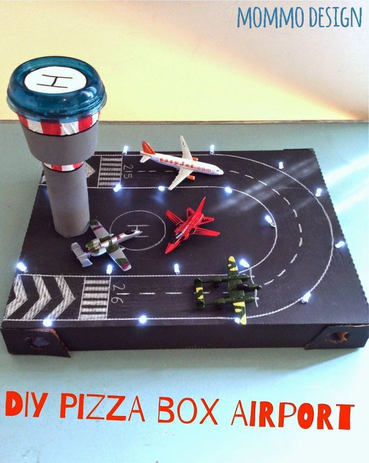 pizza box recycled in a toy airport and other cool activities all with a pizza box!