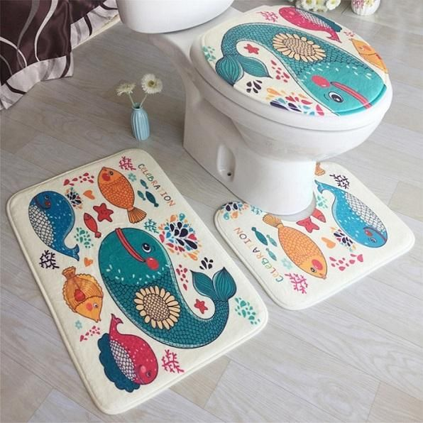 3 Pcs Bath Mats Ocean Underwater World Anti Slip Bathroom