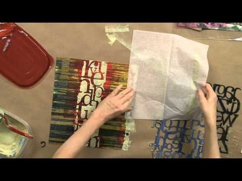 ▶ Acrylic Printing with Die-Cut Stencils with Anne Bagby - YouTube Making papers for collage.